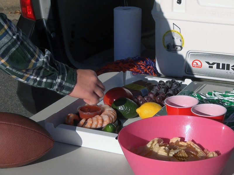 Max Cooler Companion trays are perfect for tailgating at the big game